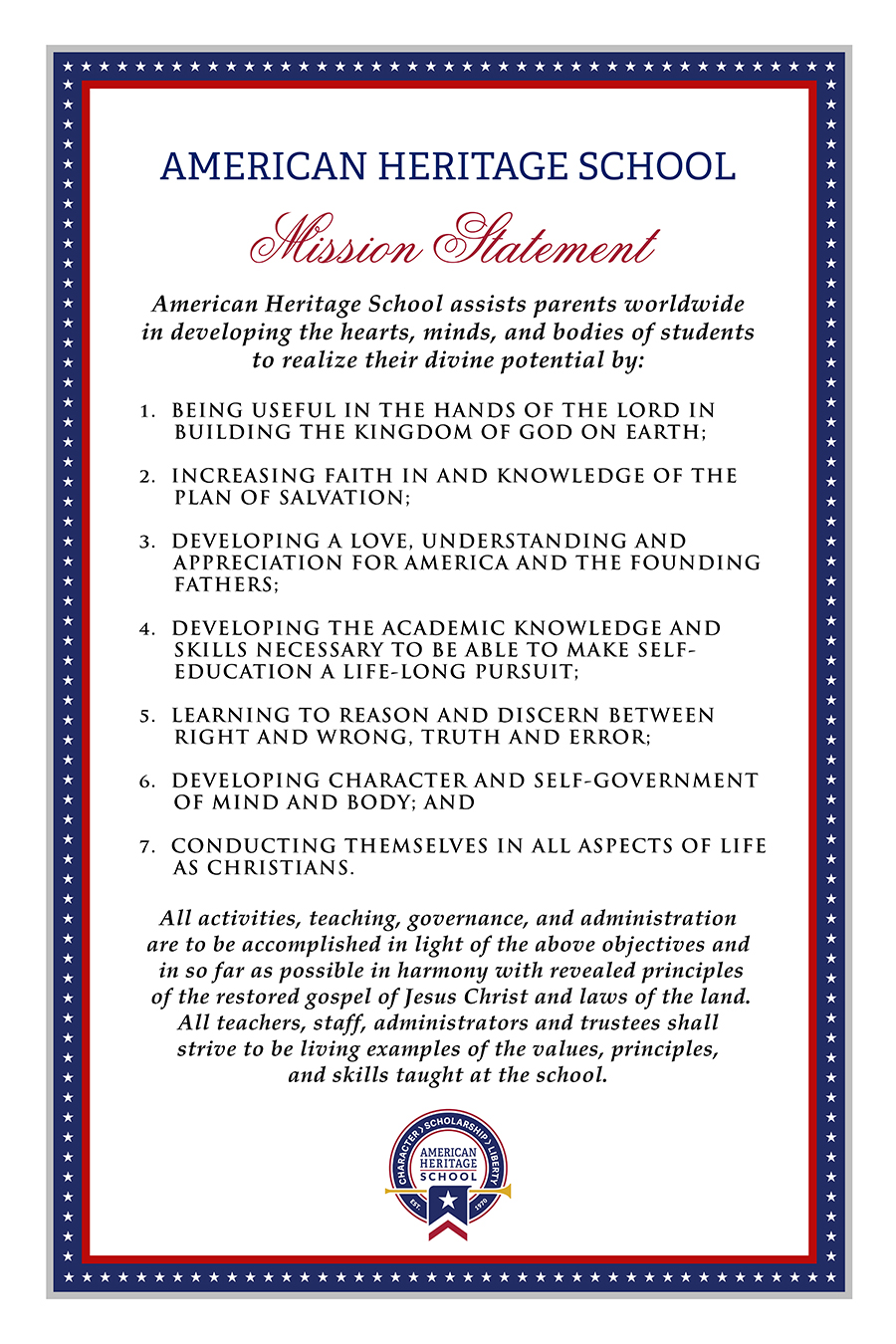 Mission Statement American Heritage School